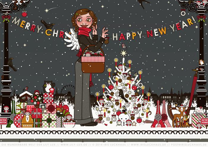 Zeichnung von einem Mädchen mit Engelsflügeln, das im Schnee im winterlichen Park mit einem Picknickkorb Geschenke verteilt und einen Weihnachtsbaum mit Meisenknödeln schmückt, für Lily Lux von Iris Luckhaus