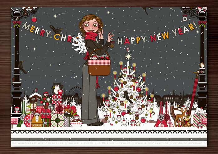 Weihnachtskarte mit der Zeichnung von einem Mädchen mit Engelsflügeln, das im Schnee im winterlichen Park mit einem Picknickkorb Geschenke verteilt und einen Weihnachtsbaum mit Meisenknödeln schmückt, für Lily Lux