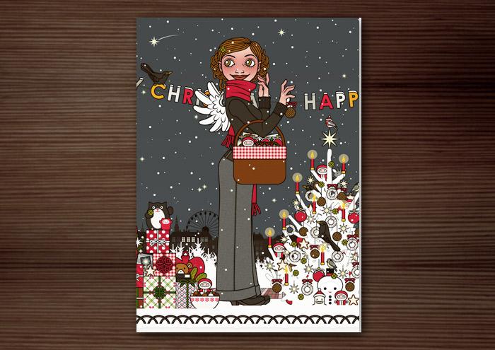Hochformatige Weihnachtskarte mit der Zeichnung von einem Mädchen mit Engelsflügeln, das im Schnee im winterlichen Parkmit einem Picknickkorb Geschenke verteilt und einen Weihnachtsbaum mit Meisenknödeln schmückt, für Lily Lux