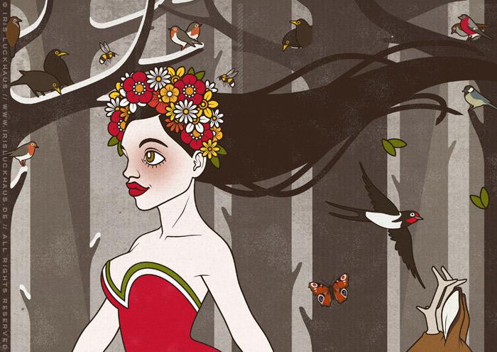 Ausschnitt einer Zeichnung von Flora, Persephone, Proserpina oder Sylvana, Frühlingsgöttin oder Nymphe, im Abendkleid mit Blumenkranz, die durch den Wald im Frühling spaziert
