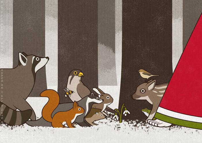 Ausschnitt einer Zeichnung von Flora, Persephone, Proserpina oder Sylvana, die von Tieren wie Eichhörnchen, Rehen und Singvögeln begleitet durch den Wald im Frühling spaziert, mit Waschbär, Falke, Igel, Dachs, Wildschwein,, Hase, Kaninchen und Zaunkönig