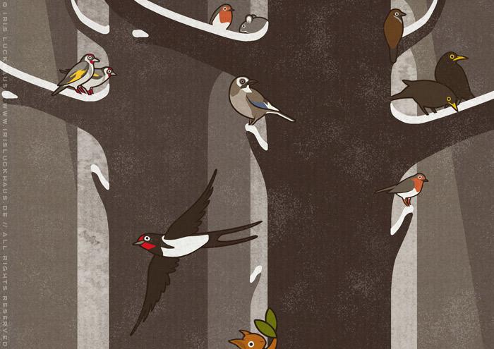 Ausschnitt einer Zeichnung von Flora, Persephone, Proserpina oder Sylvana, die von Tieren wie Eichhörnchen, Rehen und Singvögeln begleitet durch den Wald im Frühling spaziert, mit Stieglitz, Schwalbe, Eichelhäher, Rotkehlchen, Spatzen und Amseln