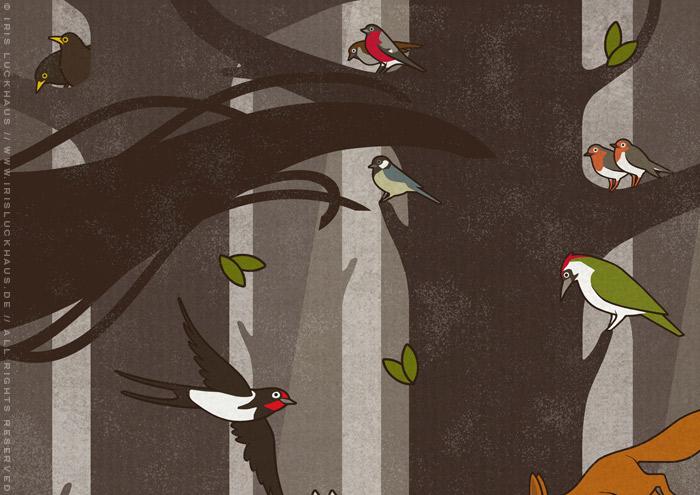 Ausschnitt einer Zeichnung von Flora, Persephone, Proserpina oder Sylvana, die von Tieren wie Eichhörnchen, Rehen und Singvögeln begleitet durch den Wald im Frühling spaziert, mit Amseln, Schwalbe, Kohlmeise, Gimpel, Rotkehlchen und Grünspecht