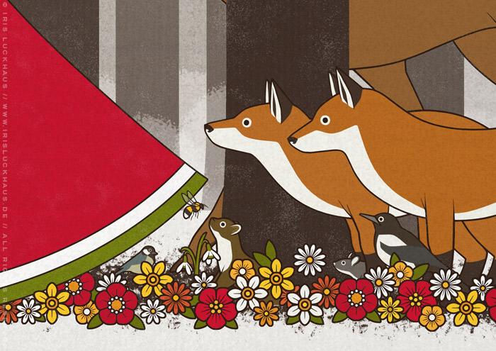 Ausschnitt einer Zeichnung von Flora, Persephone, Proserpina oder Sylvana, die von Tieren wie Eichhörnchen, Rehen und Singvögeln begleitet durch den Wald im Frühling spaziert, mit Marder, Hermelin, Elster, Maus und Osterglocken