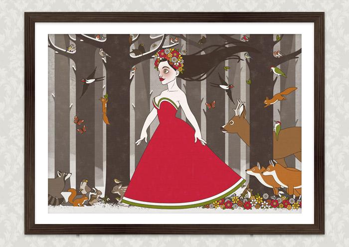 Poster mit einer Zeichnung von Flora, Persephone, Proserpina oder Sylvana, Frühlingsgöttin oder Nymphe im Abendkleid mit Blumenkranz, die von Tieren wie Eichhörnchen, Rehen und Singvögeln begleitet durch den Wald im Frühling spaziert