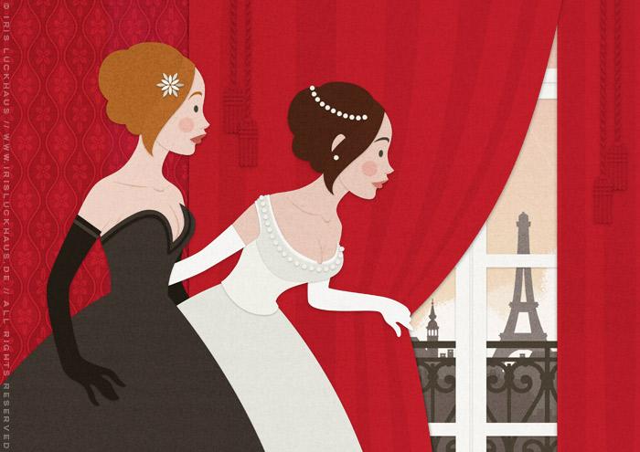 Ausschnitt aus einer Vektorillustration für ein Märchen mit zwei Mädchen, Freundinnen wie Prinzessinnen, im Ballkleid, die voller Neugier hinter einen roten Vorhang spähen und Paris erblicken
