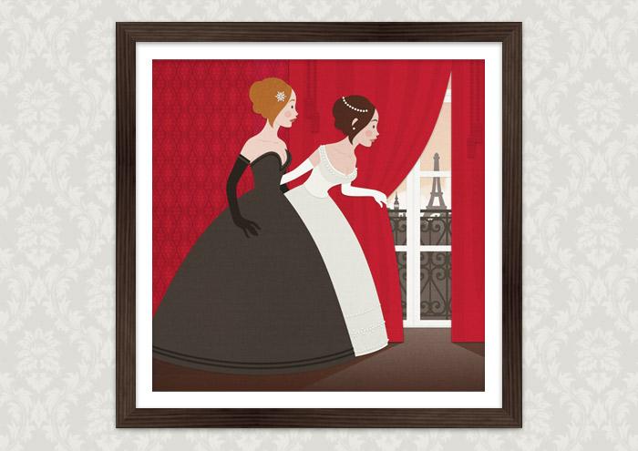 Poster von einer Vektorillustration für ein Märchen mit zwei Mädchen, Freundinnen wie Prinzessinnen, im Ballkleid, die voller Neugier hinter einen roten Vorhang spähen und Paris erblicken