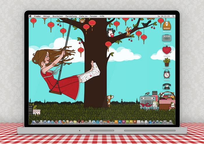 Lily Lux Wallpaper mit Schaukel im Sommer