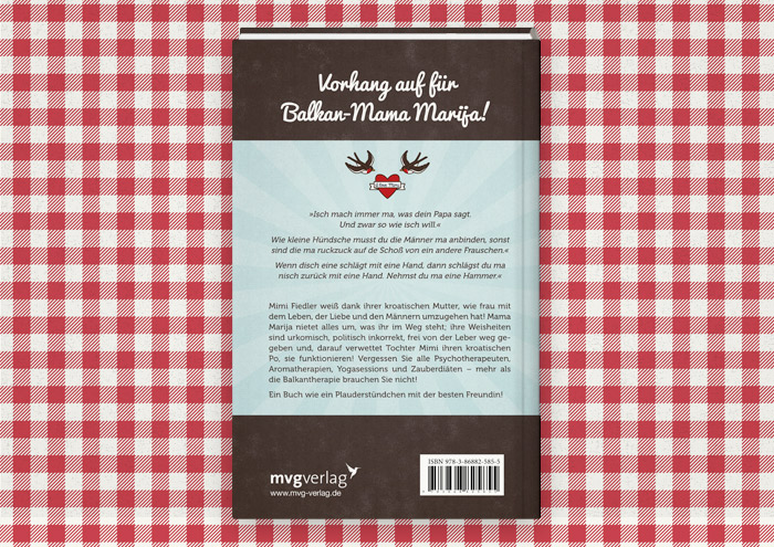 Illustration für den Buchrücken von Mimi Fiedler Brauchstu keine Doktor, brauchstu nur diese Buch – Die Balkantherapie für Liebe, Leib und Leben von Iris Luckhaus im MVG Verlag