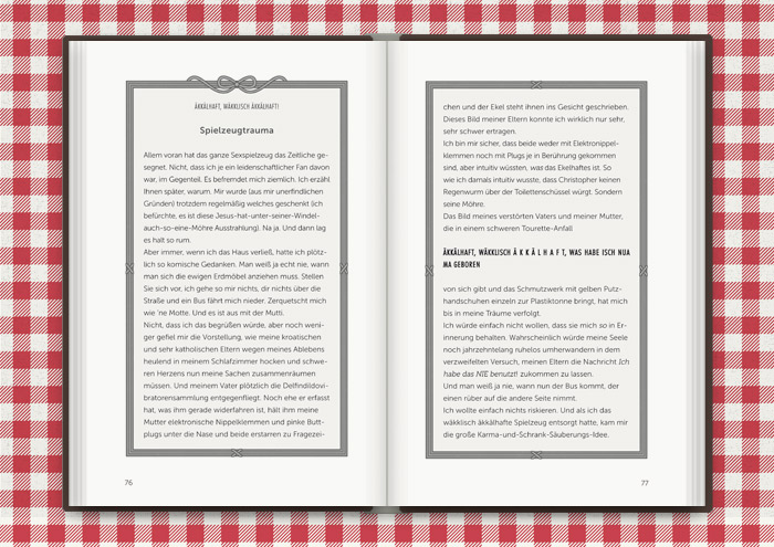 Illustrierte Textrahmen mit Schleifchen für das Buch Balkantherapie für Liebe, Leib und Seele von Mimi Fiedler