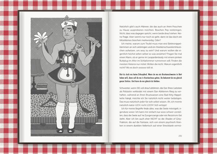 Illustration von Mimi Fiedlers kostümiertem Boytoy Guy mit Schwesternhäubchen, Spritze, Zimmermädchenuniform, Feudel, Handschellen und Sheriffstern in der Balkantherapie