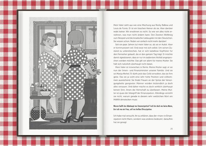 Illustration von Mimi Fiedlers selbstbewusster Mutter Marija im Spiegel, für das Buch Balkantherapie für Liebe, Leib und Seele von Mimi Fiedler