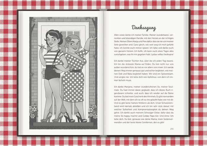 Illustration von Mimi Fiedler und ihre Mutter Marija einladend vor ihrer Haustür, für das Buch Balkantherapie für Liebe, Leib und Seele von Mimi Fiedler