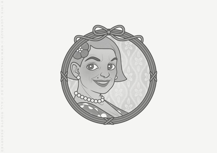 Vignette von Mimi Fiedlers selbstbewusster Mutter Marija für die Balkantherapie