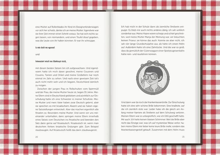 Vignette von Mimi Fiedler als irgendwie schräges Kind, für das Buch Balkantherapie für Liebe, Leib und Seele von Mimi Fiedler