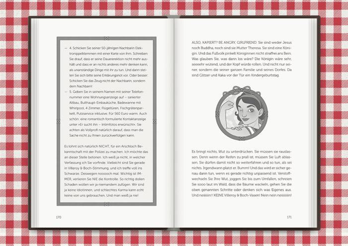 Vignette von Mimi Fiedler in We-Can-Do-It-Pose, für das Buch Balkantherapie für Liebe, Leib und Seele von Mimi Fiedler