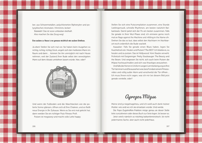 Mimi Fiedlers liebste Putzutensilien, Glasreiniger und Radio, die gegen jeden Weltschmerz helfen und gut für die Figur sind, für das Buch Balkantherapie für Liebe, Leib und Seele von Mimi Fiedler