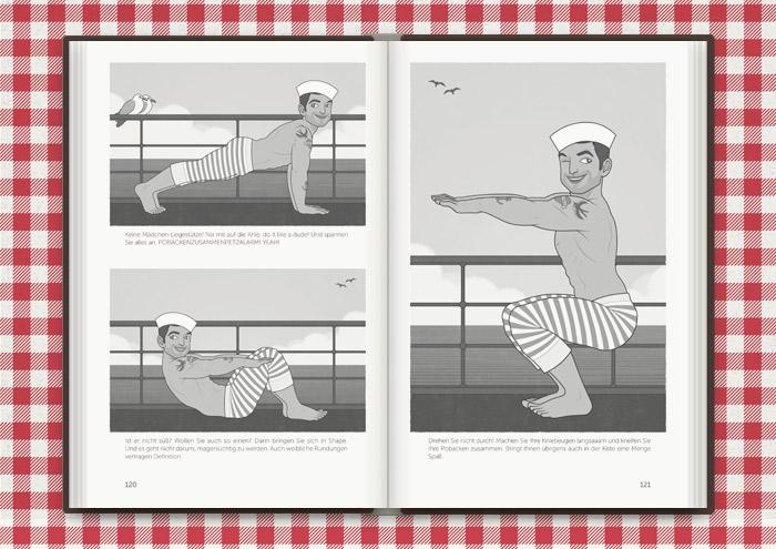 Zeichnung von Sportübungen wie Liegestütze, Situps und Kniebeugen mit dem männlichen Pinup, Sportlehrer und Matrosen Guy im Buch Die Balkantherapie für Liebe, Leib und Leben von Mimi Fiedler