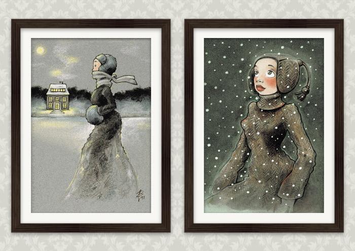 Poster mit Zeichnungen von einem Mädchen beim Eislaufen mit Schlittschuhen auf einem winterlichen See in Ölkreide und von einem Mädchen, das voller Staunen das Wunder des ersten Schnees im Winter betrachtet, in Markertechnik