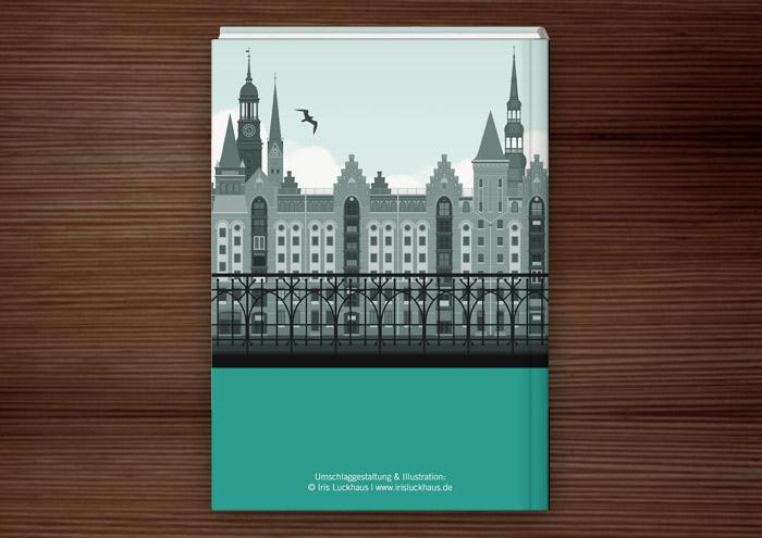 Rückseitiges Cover des Buchs zur Masterarbeit Der ehrbare Unternehmensberater von Julia Astrid Riemenschneider mit einer Illustration der der Hamburger Speicherstadt