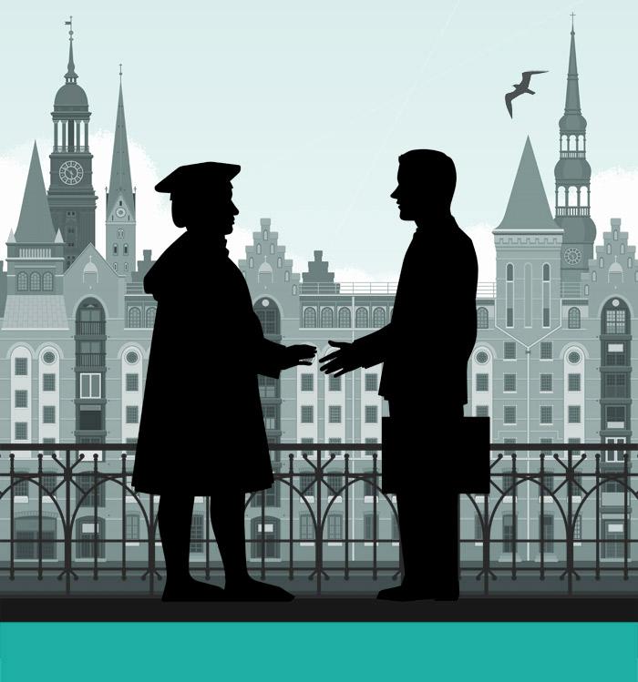 Handschütteln von Kaufmann und Unternehmensberater vor der Hamburger Speicherstadt für die Masterarbeit Der Ehrbare Unternehmensberater von J. A. Riemenschneider