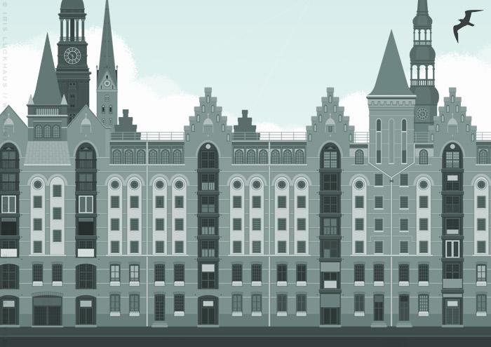 Illustration der Hamburger Speicherstadt für die BWL-Masterarbeit Der ehrbare Unternehmensberater von Julia Astrid Riemenschneider