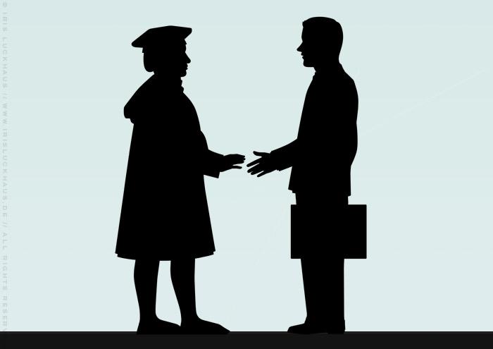 Illustration mit Kaufmann und Unternehmensberater, die sich die Hände schütteln, für die BWL-Masterarbeit Der ehrbare Unternehmensberater von Julia Astrid Riemenschneider