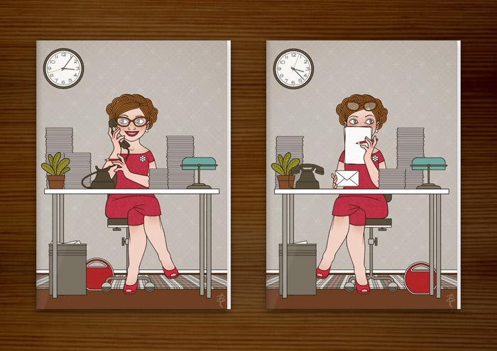 Postkarte Schüchterne und telefonierende Sekretärin