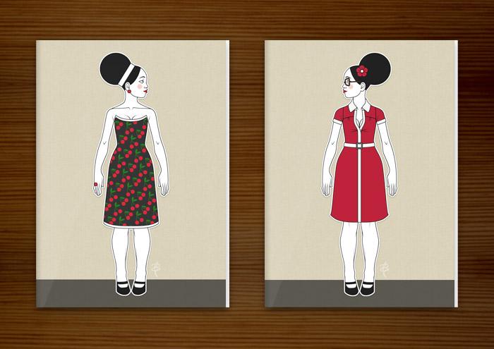 Postkarten mit Retro-Modezeichnungen im Stil der Sixties mit Beehive, kleinen Kleidchen und großen Sonnenbrillen