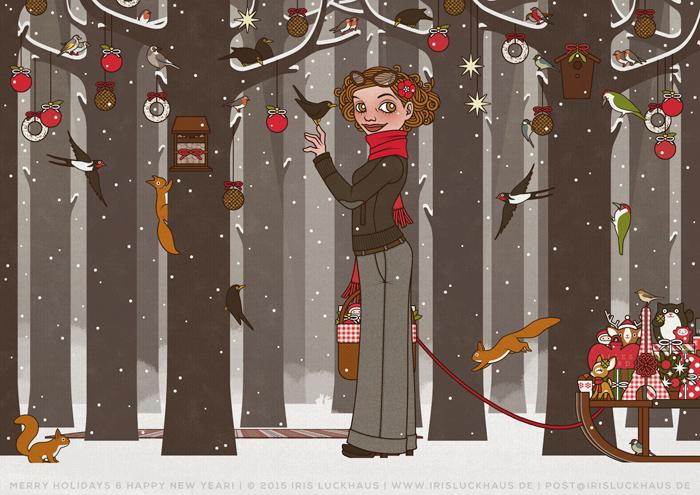 Zeichnung von einem Mädchen, das im Winter und zur Feier des Advent einen Wald voller Tiere wie Eichhörnchen, Singvögel und Amseln im Schnee mit Meisenknödeln, Meisenringen und Vogelfutter schmückt, für Lily Lux von Iris Luckhaus