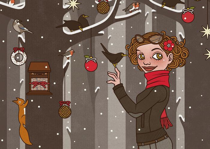 Ausschnitt aus der Zeichnung von einem Mädchen, das im Winter und zur Feier des Advent einen Wald voller Tiere wie Eichhörnchen, Singvögel und Amseln im Schnee mit Meisenknödeln, Meisenringen und Vogelfutter schmückt, für Lily Lux