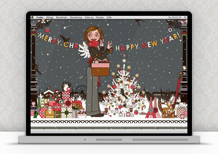 Lily Lux Wallpaper mit Weihnachtsbaum im Winter