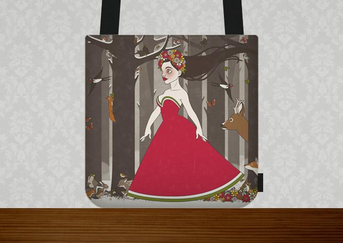 Tasche mit einer Zeichnung von Flora, Persephone, Proserpina oder Sylvana, Frühlingsgöttin oder Nymphe im Abendkleid mit Blumenkranz, die von Tieren wie Eichhörnchen, Rehen und Singvögeln begleitet durch den Wald im Frühling spaziert