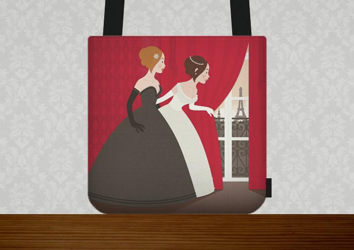 Tasche mit Vektorillustration für ein Märchen mit zwei Mädchen, Freundinnen wie Prinzessinnen, im Ballkleid, die voller Neugier hinter einen roten Vorhang spähen und Paris erblicken