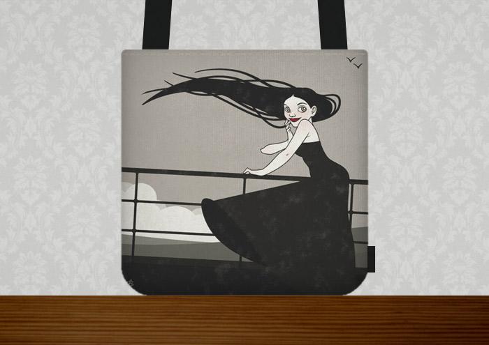 Tasche mit der Zeichnung mit Tusche und Collage von einem koketten Mädchen im Sturm an der Relings an Bord eines Ozeandampfers oder Schiffs auf hoher See
