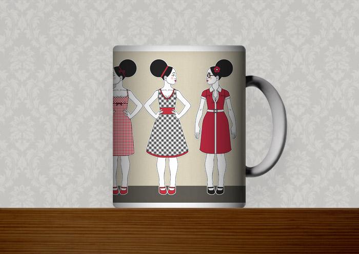 Kafeetasse mit Retro-Modezeichnungen im Stil der Sixties mit Beehive, kleinen Kleidchen und großen Sonnenbrillen