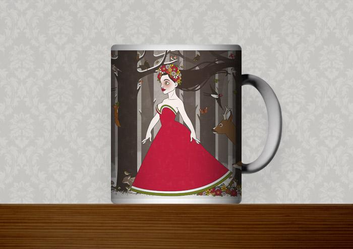 Kaffeetasse mit einer Zeichnung von Flora, Persephone, Proserpina oder Sylvana, Frühlingsgöttin oder Nymphe im Abendkleid mit Blumenkranz, die von Tieren wie Eichhörnchen, Rehen und Singvögeln begleitet durch den Wald im Frühling spaziert