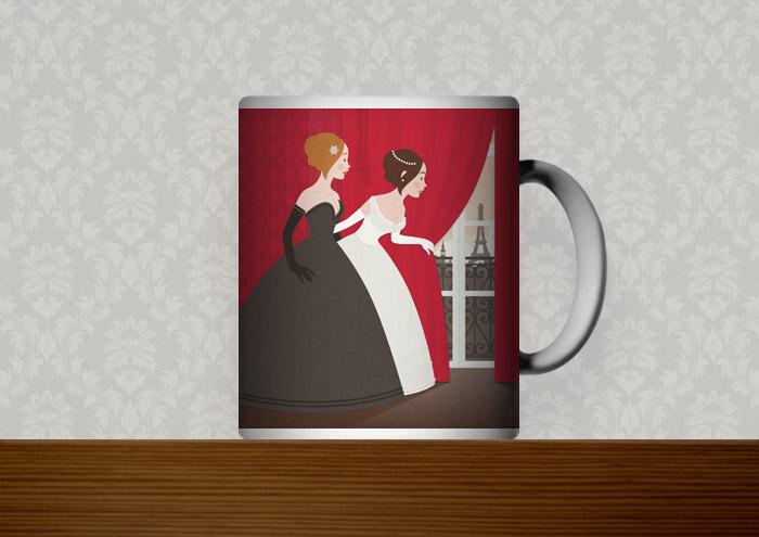 Kafeetasse mit Vektorillustration für ein Märchen mit zwei Mädchen, Freundinnen wie Prinzessinnen, im Ballkleid, die voller Neugier hinter einen roten Vorhang spähen und Paris erblicken