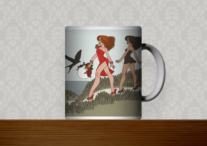 Kaffeetasse mit einer Zeichnung von Freundinnen, die Urlaub am Meer machen und unterwegs zum Picknick am Strand sind