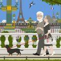 Altes Paar mit Dackel beim Spaziergang durch die Tuilerien an der Place de la Concorde in Paris