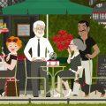 Altes Paar mit Dackel, Torte und Rosenverkäufer im Café des Jardin du Luxembourg in Paris