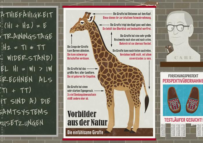 Ausschnitt aus der Illustration eines Empathielabors, wo Wissenschaftler mit der Schulwandbild Infografik einer einfühlsamen Giraffe die Formel für Empathie finden, für EmpaTrain