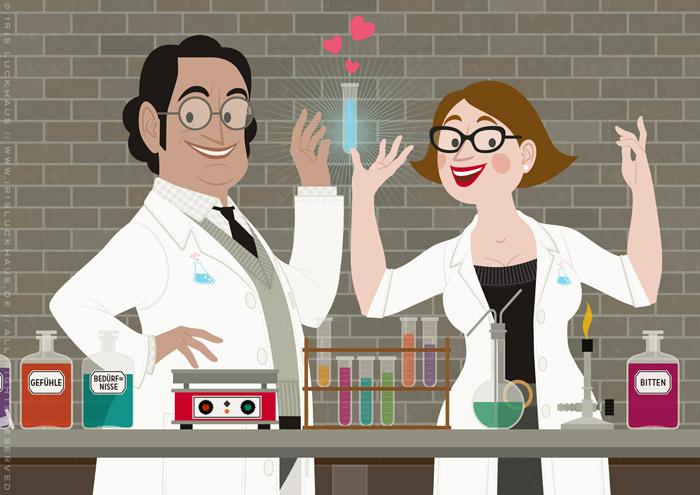Ausschnitt aus der Illustration eines Empathielabors, wo Chemikerin und Chemiker in einem Labor mit Reagenzgläsern und Laborkolben die Formel für Empathie finden, für EmpaTrain