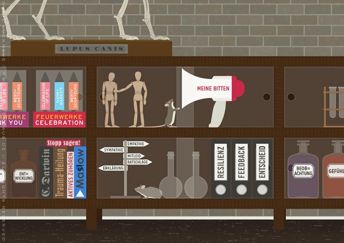 Ausschnitt aus der Illustration eines Empathielabors, wo Wissenschaftler mit Feuerwerken, Wegweiser, Megafon und Gliederpuppe die Formel für Empathie finden, für EmpaTrain