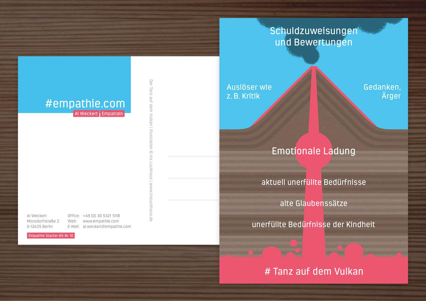 Postkarte mit der Infografik Tanz auf dem Vulkan für den Empathie-Trainer EmpaTrain