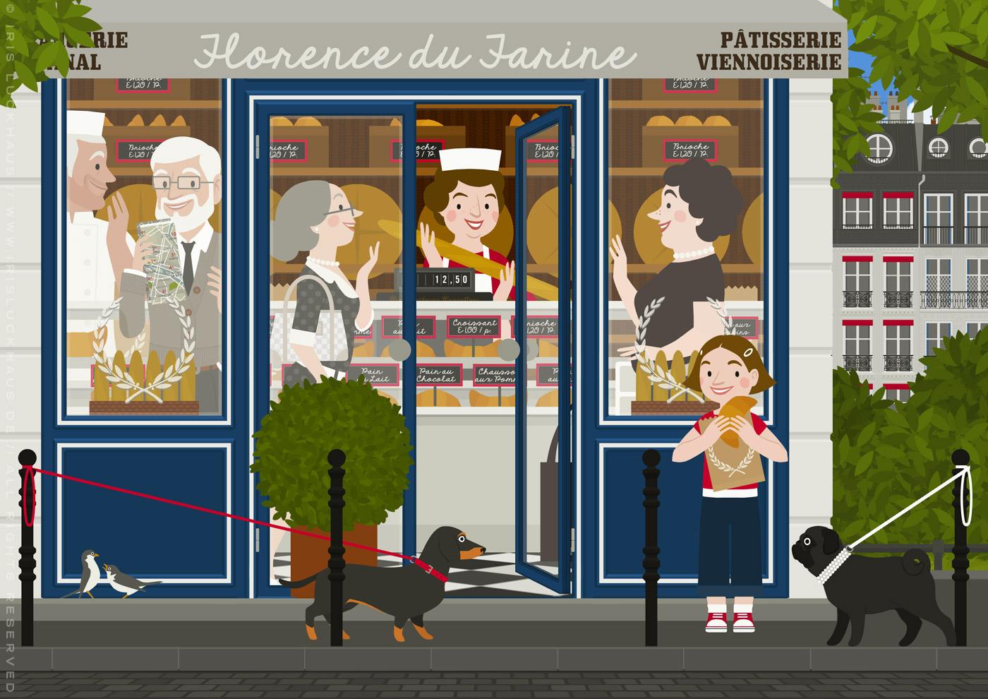Zeichnung eines alten Pärchens mit Dackel, das in einer Boulangerie in Paris einkauft und dabei Bäcker, Bäckerin und andere Kunden mit Baguette kennenlernt