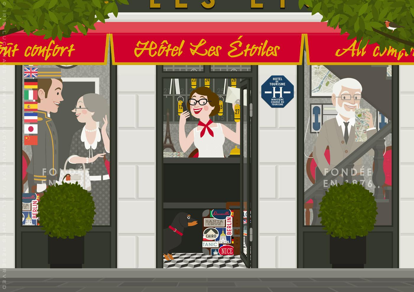 Zeichnung eines alten Pärchens mit Dackel, das in einem Hotel in Paris eincheckt und dabei Concierge und Hoteldiener kennenlernt