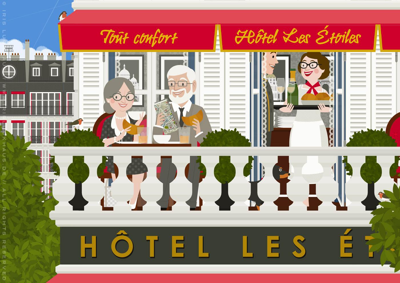 Zeichnung eines alten Pärchens mit Dackel, das auf einem Balkon im Hotel in Paris sein Frühstück von der Concierge serviert bekommt