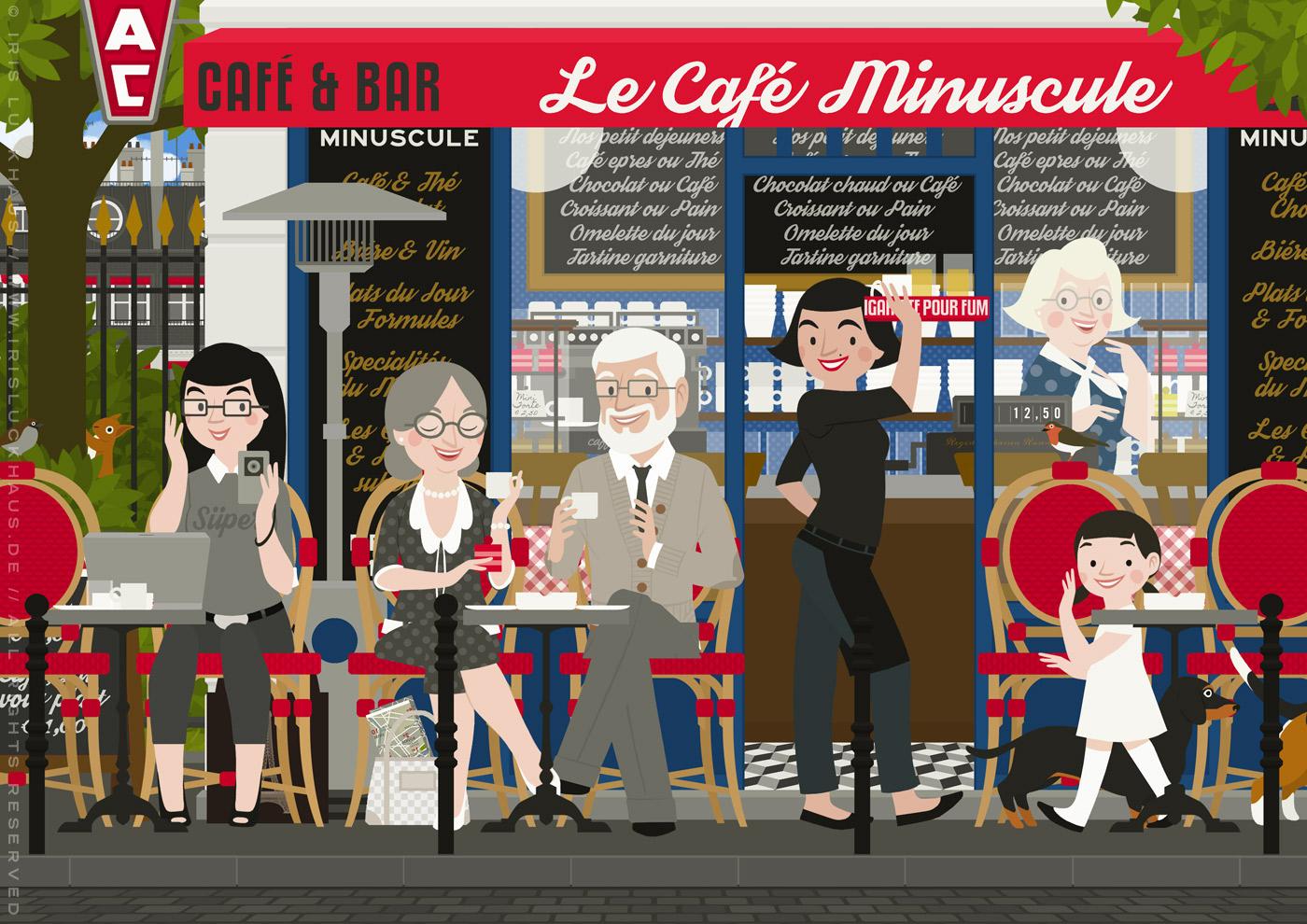 Zeichnung eines alten Pärchens mit Dackel, das bei einem Spaziergang durch Paris in einem Straßencafé Espresso trinkt und die Kellnerin, eine Bloggerin und ein Kind kennenlernt, von Iris Luckhaus
