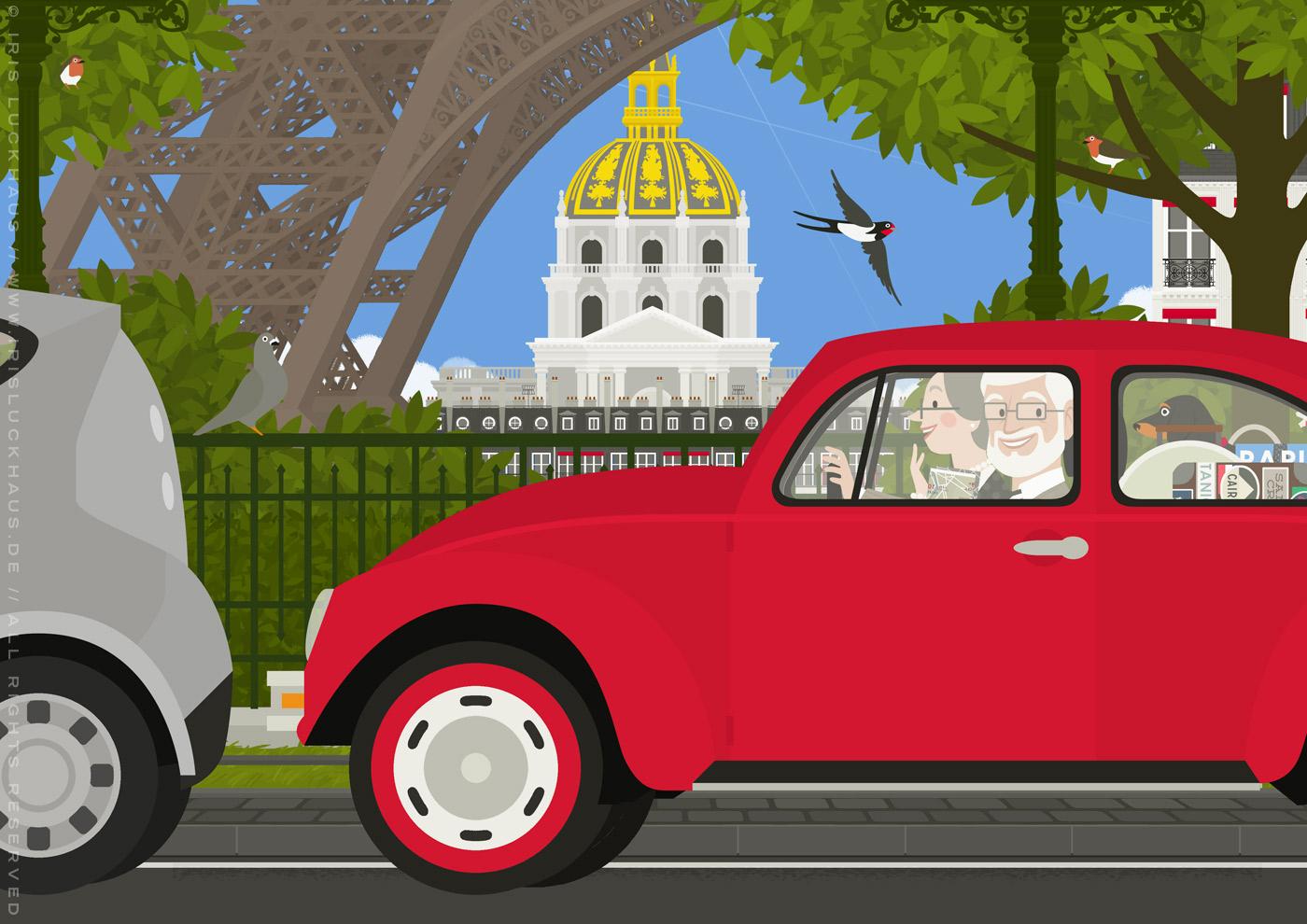 Zeichnung eines alten Pärchens mit Dackel, das in einem roten VW Käfer Auto durch Paris fährt und den Eiffelturm und Invalides sieht, von Iris Luckhaus